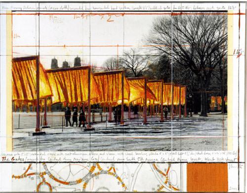 Christo 2004 collage fotografia di Wolfgang Volz tessuto 43.2x55.9 cm 6