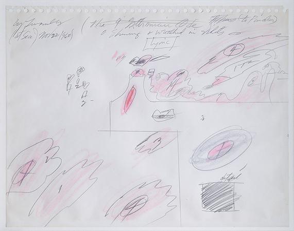 Cy Twombly 1960 Studio per il trionfo dell'amore tecnica mista su carta 27.3 x 35.5 cm 1