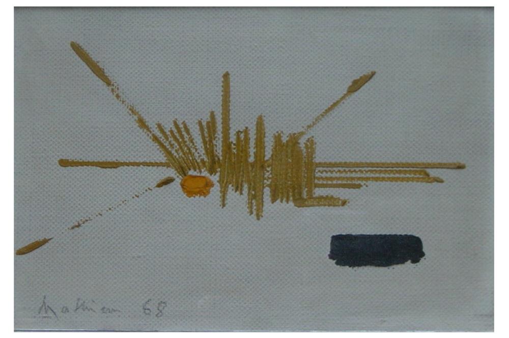Georges Mathieu 1968 olio su tela 29x19 cm 1