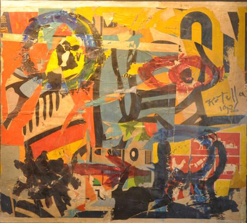 Mimmo Rotella 1986 sovrapittura su carta 90x100 cm 1