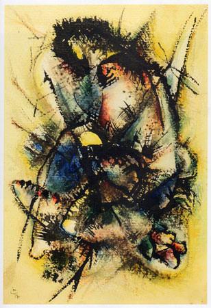 Vassily Kandinsky 1917 Acquarello e inchiostro su carta applicato su cartoncino 31x21 cm 1