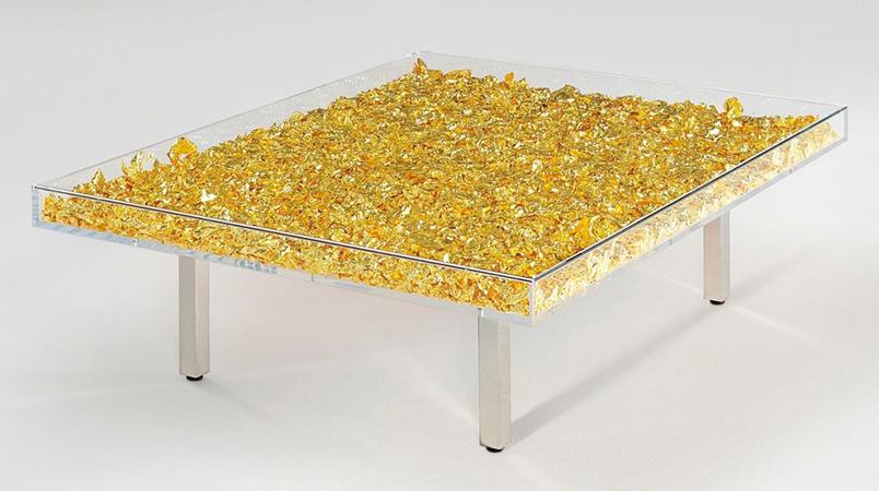 Yves Klein Tavolo plexiglass Vetro e foglia d'oro  357 x 1245 x 997 cm 2