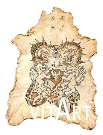 Wim Delvoye 2003 Tatuaggio su pelle di maiale, cornice di vetro 140 x 100 cm 1