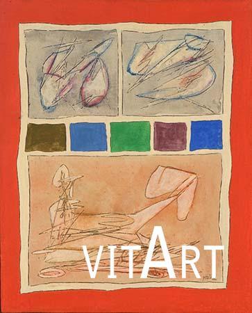 Achille Perilli 1962  Olio su tela grezza 50 x 40 cm 1